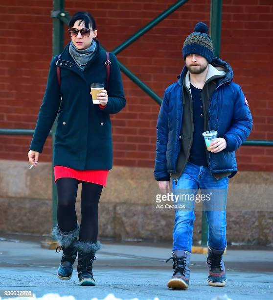 Erin Darke, Daniel Radcliffe are seen in Soho on March 22, 2018 in New York City.