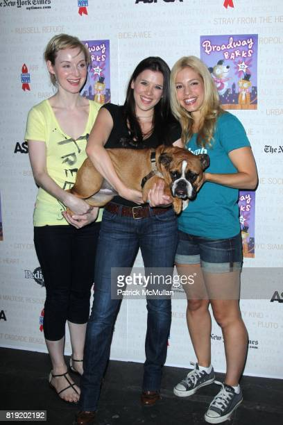 Erin Davie Ramona Mallory and Leigh Ann Larkin attend BROADWAY BARKS 12 A Pawpuar Star Studded Dog and Cat AdoptAThon at Shubert Alley on July 10...