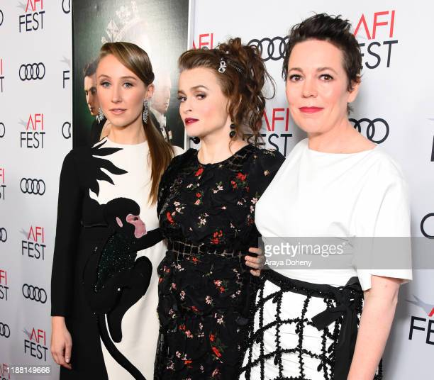 Erin Doherty, Helena Bonham Carter, and Olivia Colman attend AFI Fest: The Crown & Peter Morgan Tribute at TCL Chinese Theatre on November 16, 2019...