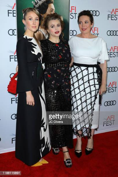 Erin Doherty Helena Bonham Carter and Olivia Colman attend the The Crown premiere during AFI FEST 2019 Presented By Audi at TCL Chinese Theatre on...