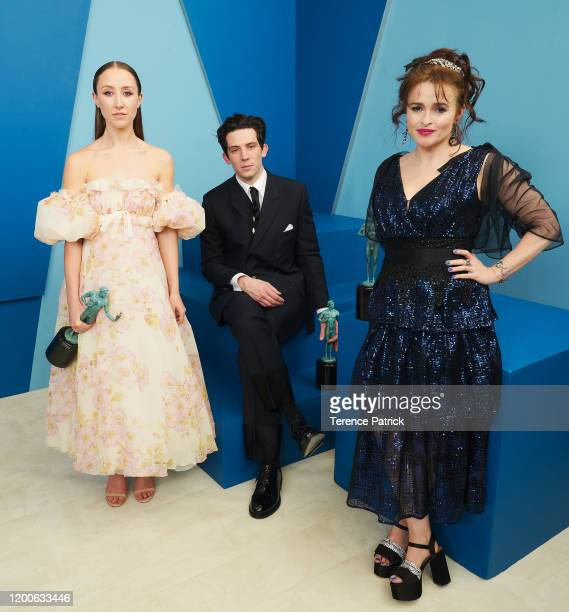 Erin Doherty Josh O'Connor and Helena Bonham Carter winner of the Outstanding Performance by an Ensemble in a Drama Series award for 'The Crown' pose...