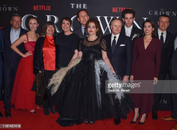 Erin Doherty, Marion Bailey, Olivia Colman, Tobias Menzies, Helena Bonham Carter, Jason Watkins, Josh O'Connor, guest and Peter Morgan attend the...