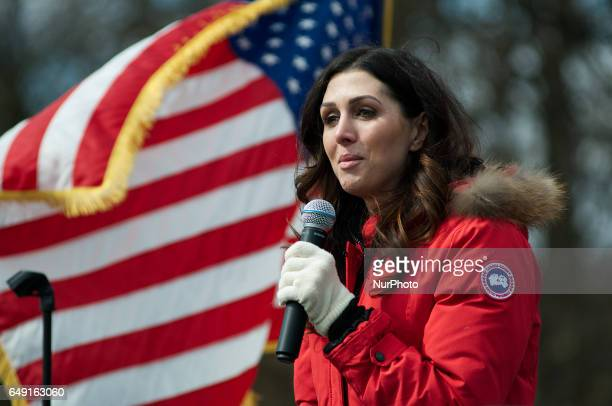 Erin Elmore speaks on stage during a ProTrump rally hosted by People4Trump in Bensalem PA on March 4th 2017 Similar small events were hosted...