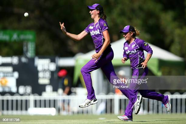 Erin Fazackerley of the Hurricanes celebrates after taking a catch to dismiss Megan Banting of the Scorchers during the Women's Big Bash League match...