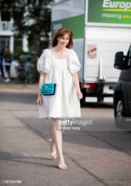 Erin Fritzpatrick is seen wearing white dress outside Cecilie Bahnsen during Copenhagen Fashion Week Spring/Summer 2020 on August 07 2019 in...