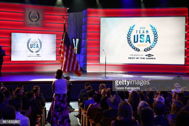 Erin Hamlin and Mike Schultz speak onstage during the Team USA Awards at the Duke Ellington School of the Arts on April 26 2018 in Washington DC