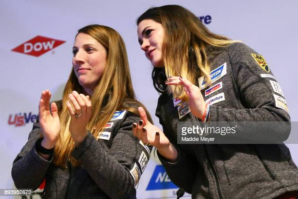 Erin Hamlin left and Summer Britcher talk together during the Ice Ball to honor the nominees to the USA Olympic team at the Conference Center at Lake...