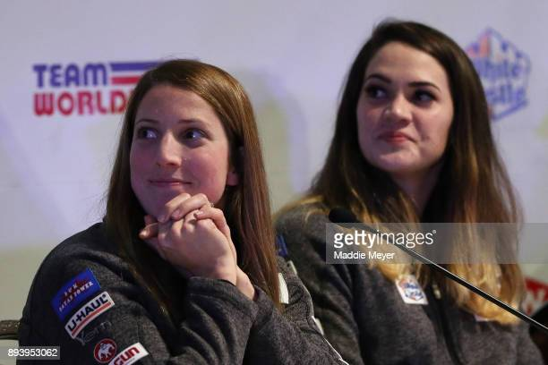 Erin Hamlin looks on during the Ice Ball to honor the nominees to the USA Olympic team at the Conference Center at Lake Placid on December 16 2017 in...