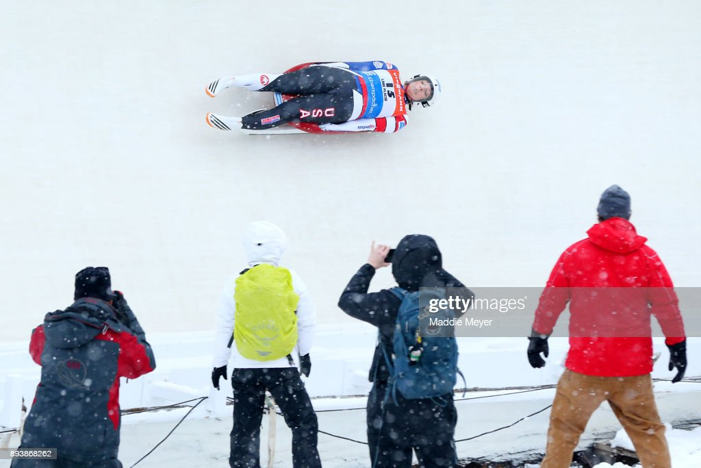 Erin Hamlin of the United States completes her first run in the Women's competition of the Viessmann FIL Luge World Cup at Lake Placid Olympic Center on December 16, 2017 in Lake Placid, New York.