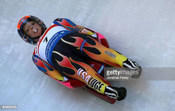 Erin Hamlin of the United States during training for the Wiessmann Luge World Cup on February 19 2009 at the Whistler Sliding Center in Whistler...