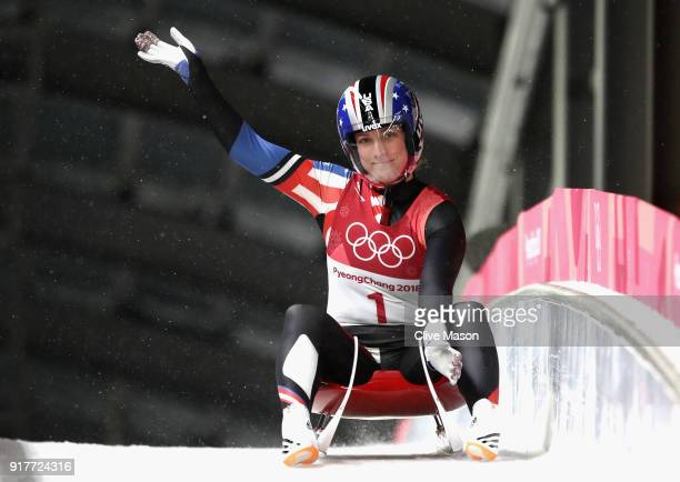 Erin Hamlin of the United States reacts following the Luge Women's Singles run 4 on day four of the PyeongChang 2018 Winter Olympic Games at Olympic...