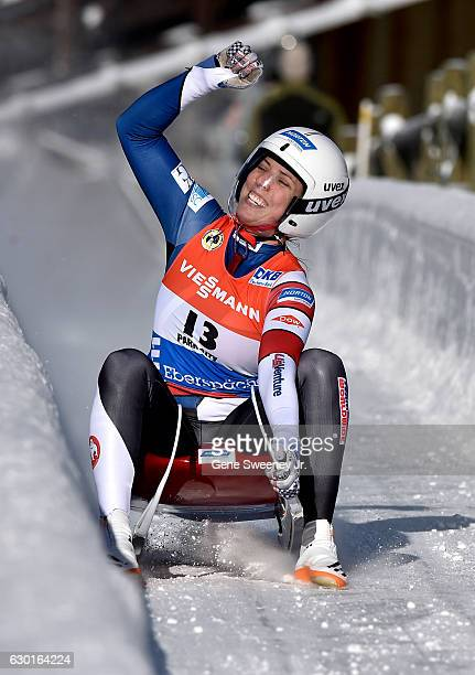 Erin Hamlin of the United States reacts to her first place finish in the Women's Luge competition during the second day of the 2016 FIL Luge World...