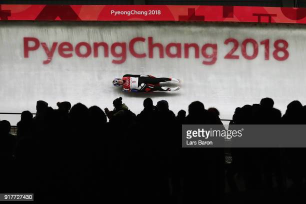 Erin Hamlin of the United States slides during the Luge Women's Singles on day four of the PyeongChang 2018 Winter Olympic Games at Olympic Sliding...