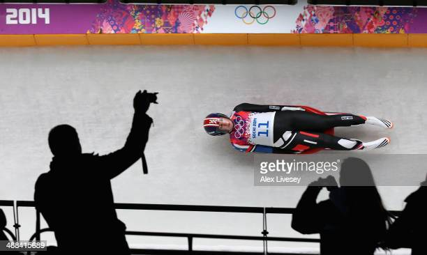 Erin Hamlin of USA in action during the second run of the Women's Luge Singles on Day 3 of the Sochi 2014 Winter Olympics at Sliding Center Sanki on...