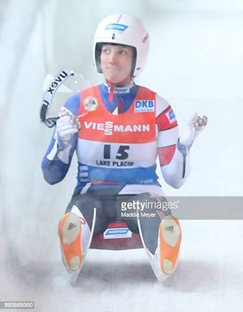 Erin Hamlin reacts after completing her second run in the Women's competition of the Viessmann FIL Luge World Cup at Lake Placid Olympic Center on...