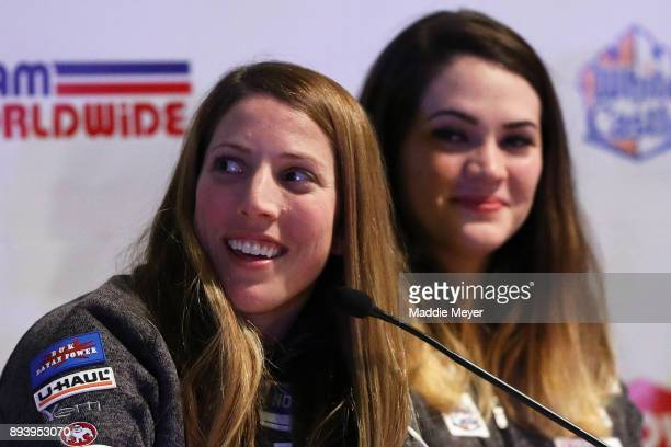 Erin Hamlin speaks to fans during the Ice Ball to honor the nominees to the USA Olympic team at the Conference Center at Lake Placid on December 16...