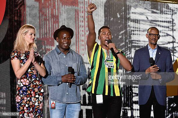 Erin Heatherton Kweku Mandela Ndaba Mandela and Paul Kagame speak onstage at the 2014 Global Citizen Festival to end extreme poverty by 2030 in...