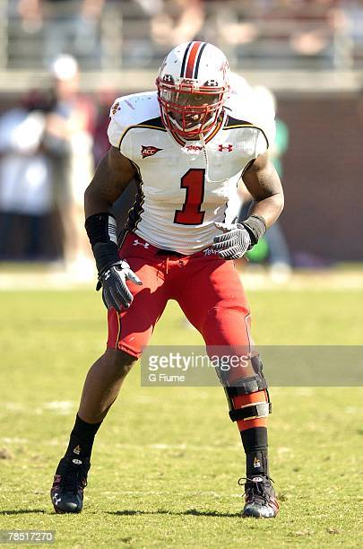 Erin Henderson of the Maryland Terrapins lines up at the line of scrimmage against the Florida State Seminoles November 17, 2007 at Doak Campbell...