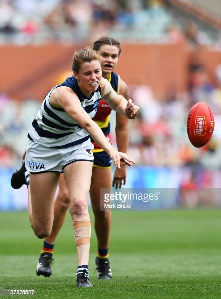 Erin Hoare of the Cats taps the ball forward during the AFLW Preliminary Final match between the Adelaide Crows and thew Geelong Cats at Adelaide...