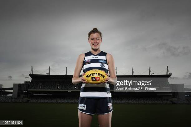 Erin Hoare poses during the Geelong Cats AFLW Leadership Announcement at GMHBA Stadium on December 13 2018 in Geelong Australia