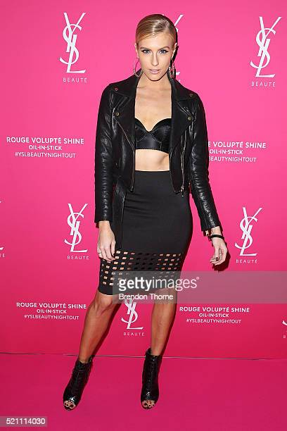 Erin Holland arrives ahead of a YSL beauty launch at Sydney Town Hall on April 14 2016 in Sydney Australia