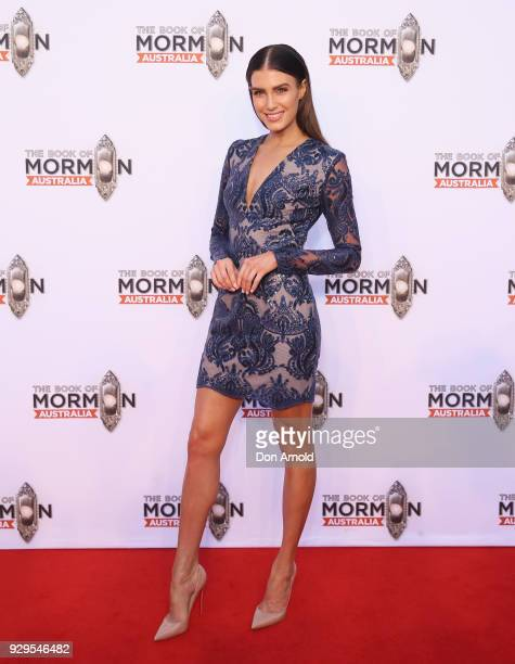 Erin Holland arrives ahead of The Book of Mormon opening night at the Lyric Theatre Star City on March 9 2018 in Sydney Australia