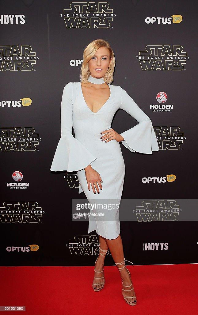 Erin Holland arrives ahead of the 'Star Wars: The Force Awakens' Australian premiere on December 16, 2015 in Sydney, Australia.