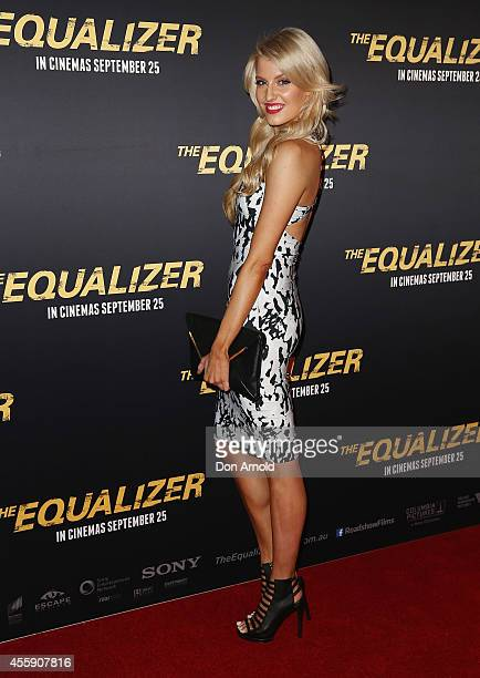 "Erin Holland poses on the red carpet at ""The Equalizer"" Sydney Premiere at Event Cinemas George Street onSeptember 22, 2014 in Sydney, Australia."