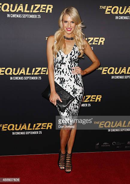 Erin Holland poses on the red carpet at The Equalizer Sydney Premiere at Event Cinemas George Street onSeptember 22 2014 in Sydney Australia