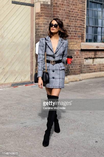 Erin Holland wearing Elliat suit Chanel bag and Tony Bianco shoes at MercedesBenz Fashion Week Resort 20 Collections on May 13 2019 in Sydney...