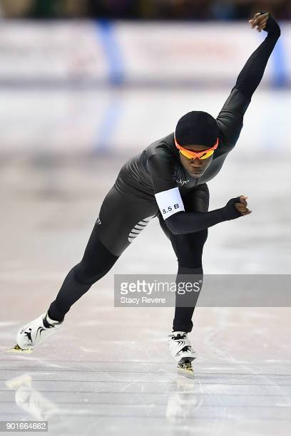 Erin Jackson competes in the Ladies 500 meter event during the Long Track Speed Skating Olympic Trials at the Pettit National Ice Center on January 5...