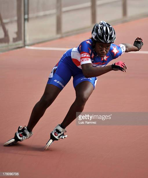 Erin Jackson from United States during a competition in the 300 meters individual time in Track Speed Roller Skating in the IX World Games Cali 2013...