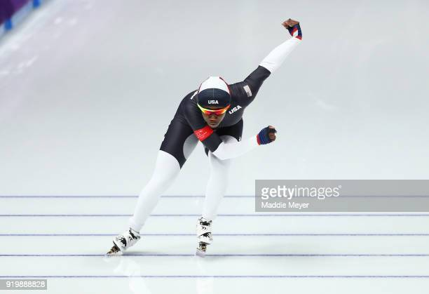 Erin Jackson of the United States competes during the Ladies' 500m Individual Speed Skating Final on day nine of the PyeongChang 2018 Winter Olympic...