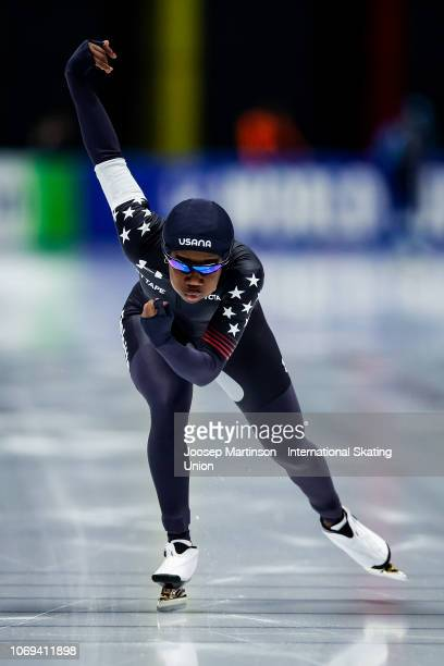 Erin Jackson of the United States competes in the Ladies 500m during ISU World Cup Speed Skating at Tomaszow Mazoviecki Ice Arena on December 7 2018...