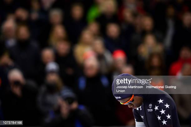 Erin Jackson of the United States competes in the Ladies 500m during ISU World Cup Speed Skating Heerenveen at Thialf on December 15 2018 in...