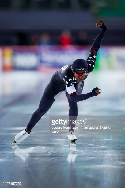 Erin Jackson of the United States competes in the Ladies 500m during day 3 of the ISU World Cup Speed Skating Hamar at Hamar Olympic Hall on February...