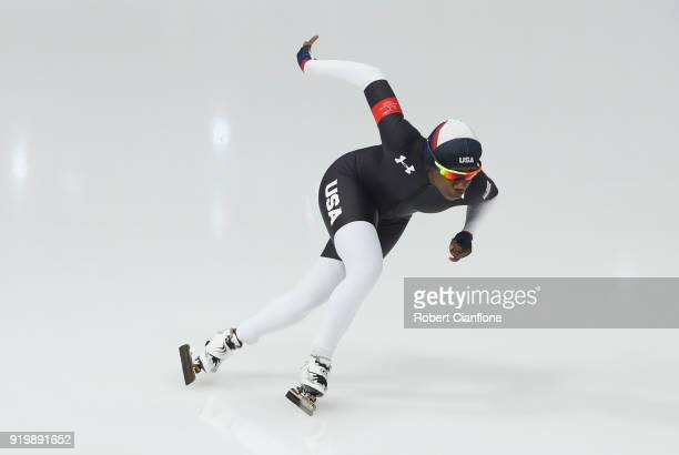 Erin Jackson of the United States competes in the Ladies' 500m Individual Speed Skating Final on day nine of the PyeongChang 2018 Winter Olympic...