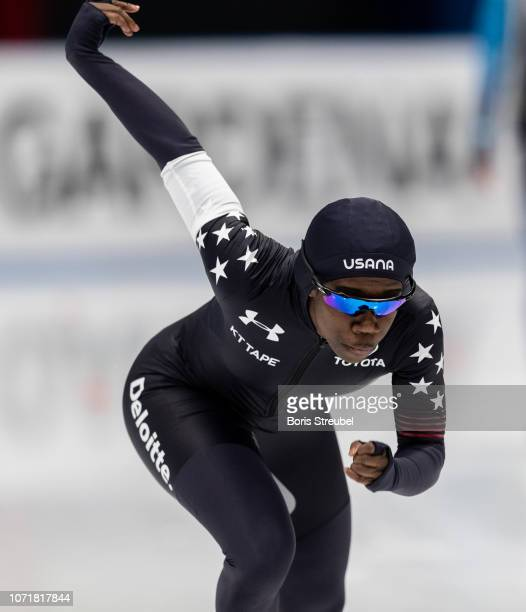 Erin Jackson of the United States competes in the Women's 500m Division A race on day one of the ISU World Cup Speed Skating at Tomaszow Mazoviecki...