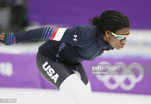 Erin Jackson of the United States trains in Gangneung South Korea on Feb 10 ahead of the women's 500meter speed skating at the Pyeongchang Winter...