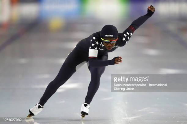 Erin Jackson of the USA competes in 500m Ladies race during the ISU Speed Skating Long Track World Cup at the Thialf Ice Arena on December 15 2018 in...