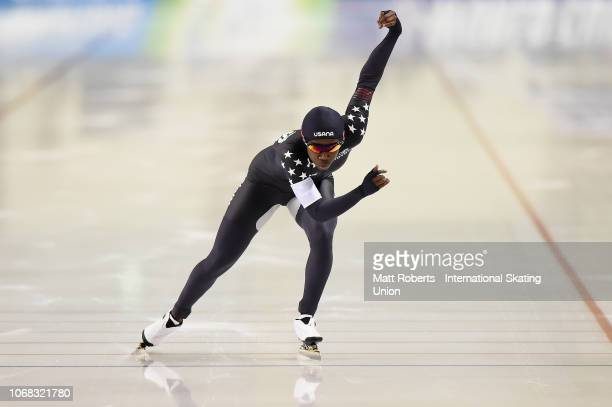 Erin Jackson of USA competes during the Men's 500m division A race on day one of the ISU World Cup Speed Skating at Meiji HokkaidoTokachi Oval on...