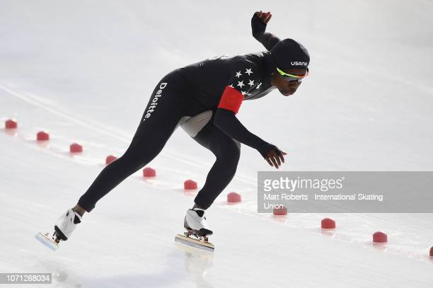Erin Jackson of USA competes during the Women's 500m Division B race on day one of the ISU World Cup Speed Skating at Tomakomai Highland Sports...