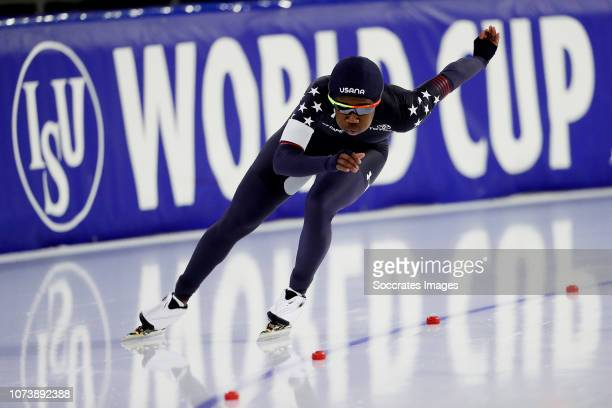 Erin Jackson of USA during the 500m during the ISU World Cup 4 at the Thialf Stadium on December 15 2018 in Heerenveen Netherlands