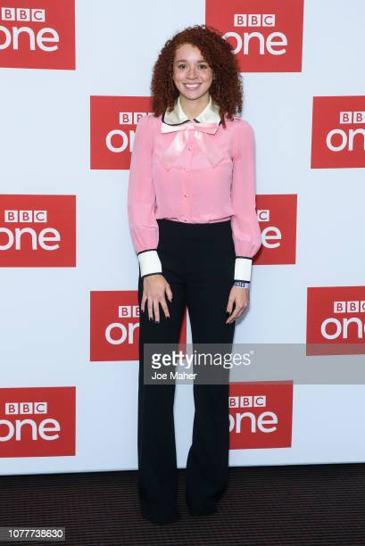 """Erin Kellyman attends a photocall for BBC One's """"Les Miserables"""" at BAFTA on December 05, 2018 in London, England."""