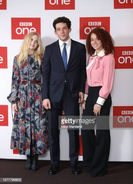 """Erin Kellyman, Josh O'Connor and Elle Bamber attend a photocall for BBC One's """"Les Miserables"""" at BAFTA on December 05, 2018 in London, England."""