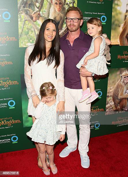 Erin Kristine Ludwig actor Ian Ziering and their daughters Mia Loren Ziering and Penna Mae Ziering attend the world premiere of Disney's 'Monkey...