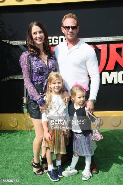 Erin Kristine Ludwig Mia Loren Ziering Penna Mae Ziering and Ian Ziering at the premiere of Warner Bros Pictures' The LEGO Ninjago Movie at Regency...