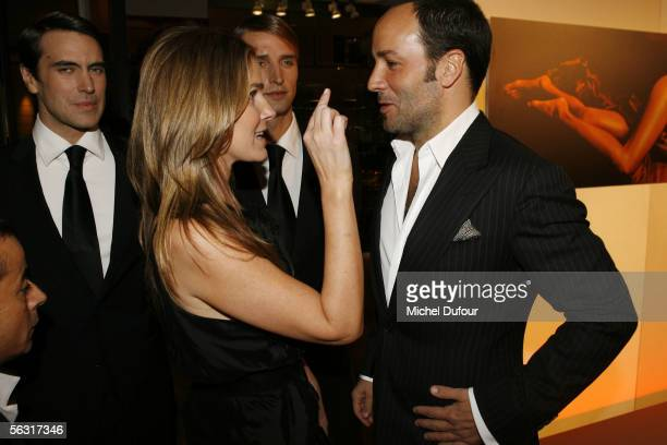 Erin Lauder and designer Tom Ford attend a cocktail party at Colette shop rue du Faubourg SaintHonore attended by Estee Lauder brand director John...