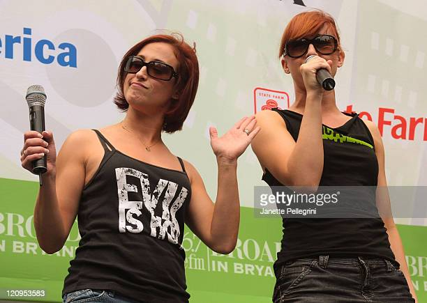 Erin Leigh Peck and Celina Carvajal from the cast of ''The Toxic Avenger'' perform during Broadway In Bryant Park on July 16 2009 in New York City