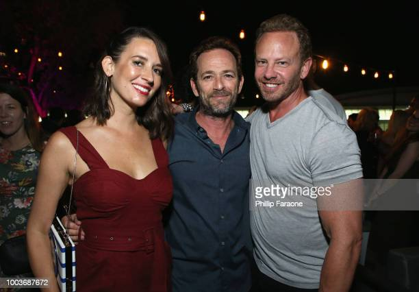 Erin Ludwig Luke Perry and Ian Ziering attend Entertainment Weekly's ComicCon Bash held at FLOAT Hard Rock Hotel San Diego on July 21 2018 in San...